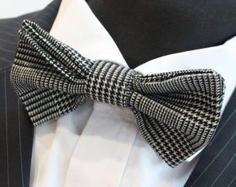 Bow Tie. UK Made.Black White Plaid Twill Tartan Cotton.Premium Quality Pre-Tied.