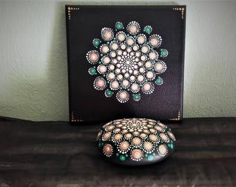 2 set mandala stone and canvas20χ20 painting-calm subject