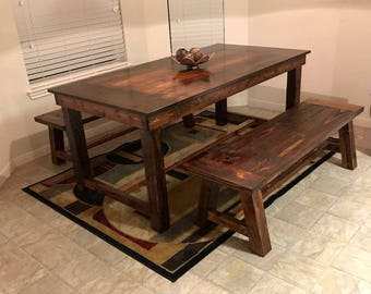 Rustic Farmhouse honey stained 3pc table set