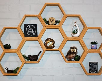 Honeycomb Shelving - Geometric Shelf - Floating Shelves - Hexagon Shelves - Rustic Home Decor - Succulent Design - Succulent Display Shelf