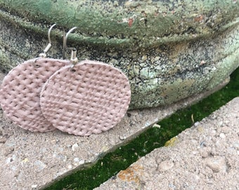 Weave a Little- Dusty Rose Leather Earrings