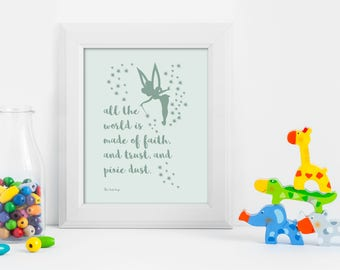 Peter Pan, JM Barrie, Peter Pan Quote, JM Barrie Quote, Peter Pan Wall Art, Peter Pan Print, Book Lover, Typography Print, Gift for a Friend