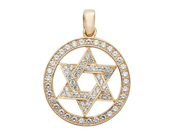 9ct Yellow Gold Channel Set Cz Star of David 20mm Circle Pendant