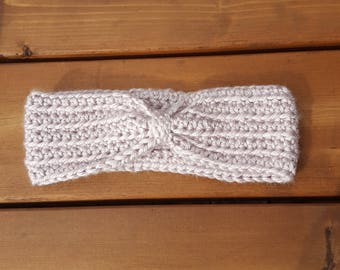 Crocheted Taupe Headband - Ready to Ship (Adult Size)