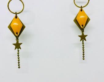 Bohemian women mustard yellow and bronze earrings. FREE shipping