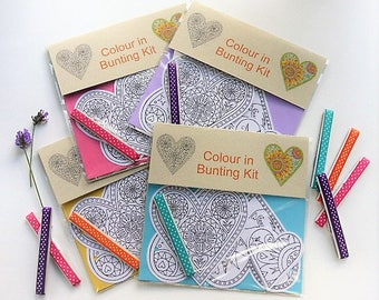 Hearts colour in bunting kit