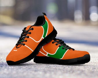 Miami Hurricanes Football Fan Custom Black Running Shoes/Sneakers/Trainers - Ladies + Mens Sizes