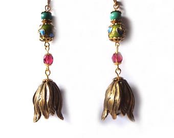 Multicolored tulips etniques bronze patina earrings