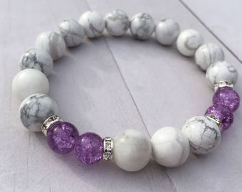 White Howlite Natural Stone 10mm Bracelet w/Purple accent & Rhinestone Spacers
