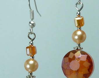 """Jewelry Silver earrings """"Crystal saffron"""""""
