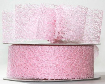 "Pink Mesh Ribbon- 1.5"" x 20 yds"