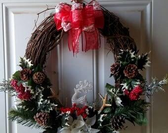 "18"" Grapevine Antler Christmas Wreath"