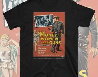 Money Women And Guns Western Movie T Shirt Poster Artwork Cowboy Jock Mahoney John Wayne Wild West