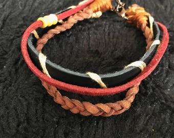 Tri-strand leather bracelet