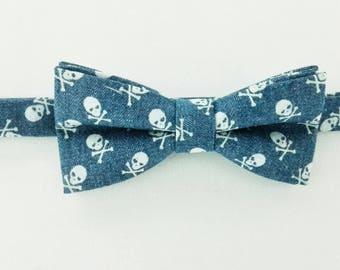 Denim bow skull