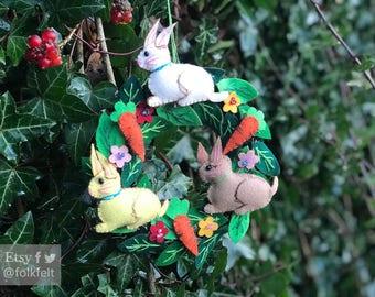 "6"" hand stitched ester bunny wreath felted rabbit bunny felt decoration / felt ornament / easter primitive decor"