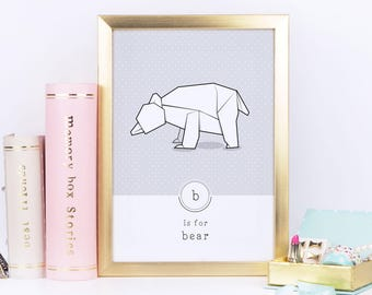 Bear Print, Origami Art, Animal Alphabet, Modern Bear, Geometric Art, Nursery Art, Contemporary Illustration, Pastel Print, Scandinavian Art