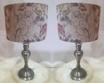 Pair of Voyage Fabric Lampshades made with Voyage Hedgerow Linen Drum Handmade in UK Light Shade