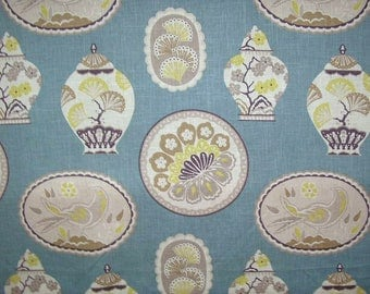 Braemore IMPERIAL TREASURE Color TEAL Blue Chinoiserie Plates Home Decor Drapery Upholstery Sewing Fabric By the Yard
