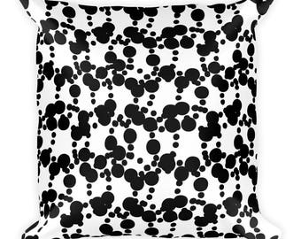 Abstract Black and White Square Pillow, Graphic Cushion Cover, Geometric Pattern, Accent Pillow, Throw Pillow, Size 18x18 in
