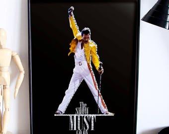 Freddie Mercury Poster,Freddie Mercury Print, Freddie Mercury Art,Freddie Mercury Decor, Home Decor, the show must go on Queen
