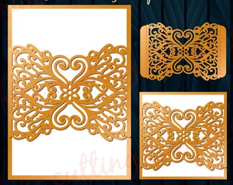Wedding Invitation Card with belly bends template for cutting, laser cut Digital Instant Download Cricut Cameo (svg, dxf, eps10)