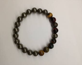 Tiger Eye, Stone Bracelet, Pyrite, Pyrite Beads, Bulls eye, Yoga Jewelry, Bracelet Gift, Pyrite Gemstones, Pyrite Jewelry, Red Bulls Eye