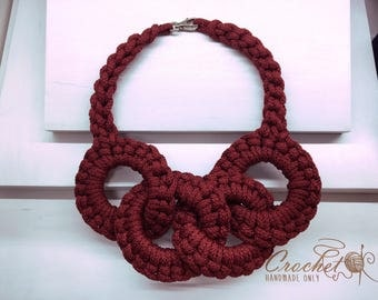 Big red rope chunky necklace Cord statement jewelry Circle red bold bib necklace Chunky collar knit necklace Elegant valentines gift for her