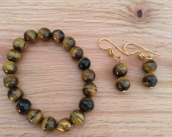 Tigers Eye Stretchy Bracelet and Earrings Set