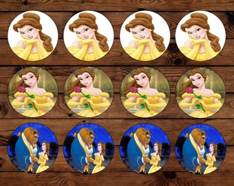 Belle Beauty and the Beast Cupcake Toppers