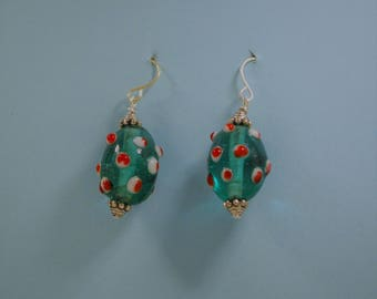 Lamp-Work Glass Bead Earrings