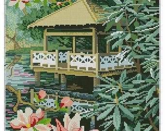 Embroidery kit Asian Landscape