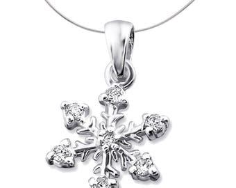 Silver Snowflake Pendant With Cubic Zirconias