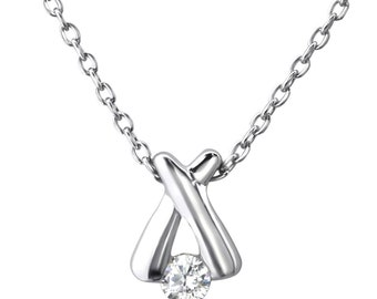 Cubic Zirconia Sterling Silver Cross Necklace