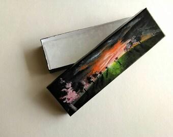 Landscape Gift Box | Box with Lid | Necklace Box | Realism Art | Sunset Art | Bracelet Box | Mini Art | Small Box | Small Gift Box | Sunset