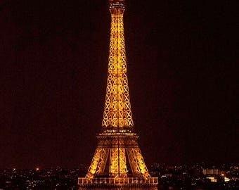 Eiffel Tower at Night, Paris, France Photography Print