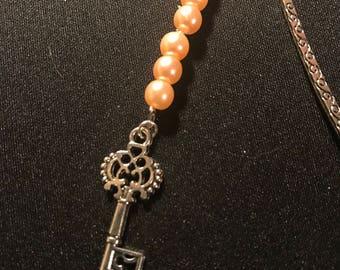 Key metal bookmark // pink and silver bookmark // metal dangle bookmark