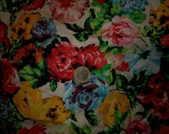 beautiful fabric cotton multicolored flowers selling by half meter