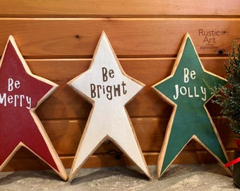 Be Merry | Be Bright | Be Jolly | Christmas Star Collection | Reclaimed Wood