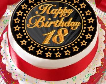 Th Birthday Cake Topper Etsy - Happy birthday 18 cake