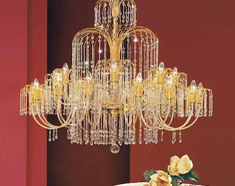 24 Lights chandelier-gold and Crystal Swarovky Spectra-Royal Collection