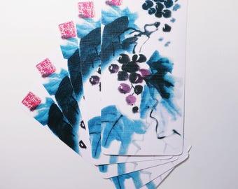 Red grapes, postcard, print based on my artwork
