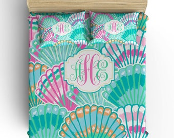 Seashell BEDDING Comforter- DUVET COVER, Seashell Pillowcase, Aqua Pink Lilly Pattern, Toddler- Twin- Queen, King, Monogram Bedding Set