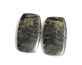 Picasso Jasper Rectangle Pair Cabochon,Size- 21X12 ,MM,Natural Picasso Jasper, AAA,Quality  Loose Gemstone, Smooth Cabochons.