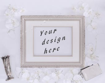 Picture frame stock photo, Silver Mockup media style image, Mockup wall styled stock photography, White flower picture frame stock photo