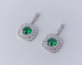 Celine Cubic Zirconia Earrings - Emerald & Silver, Wedding Jewelry, Bridal Drop Earrings, Mother of the Bride Earrings, Engagement Earrings,