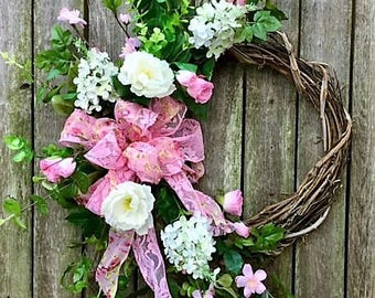Valentine's Day Cresent Wreath with Pink Rose, Pink Apple Blossoms, Cream Lilac, Camellia, Eucalyptus and a Pink Lace Bow