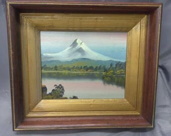 Old Antique Oil Painting American Mountain Landscape Art Wood Picture Frame