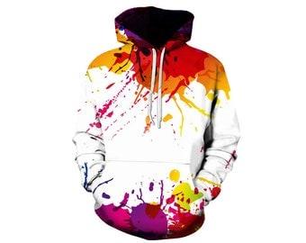 Paint Splat, Paint Hoodie, Painted Sweatshirt, Painting Clothes, Hoodie Art, Hoodie Pattern, Pattern Hoodie, Hoodie, 3d Hoodie - Style 1