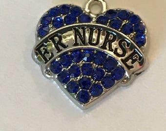 ER Nurse crystal heart charm